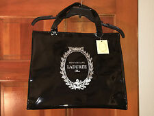 LADUREE Large INSULATED BLACK Shopping Food TOTE Patent Shiny PARIS FRANCE NEW