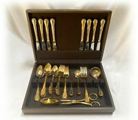 Wesley Forge Gold Ribbon Stainless Gold Plated Flatware 47 Pc Service for 8 +