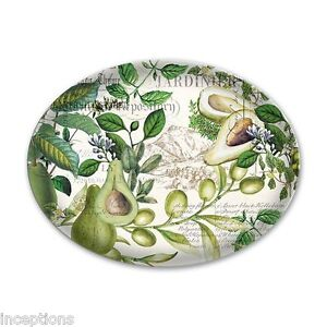 Michel Design Works Glass Trinket / Soap Dish Avocado - NEW