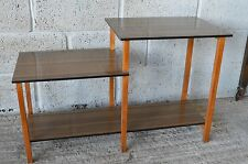 Vintage Retro Mid Century Formica 2 Tier End Hall Side Telephone Table Shelf