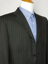 ADESSO UOMO Men's Sport Coat BLACK Stripe 4-BTN Jacket Rayon Blazer Size 42 Tall