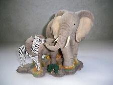 Elephant Zebra Tuskers Enesco Friendship Crosses all Boundaries Ca06520 See Desc