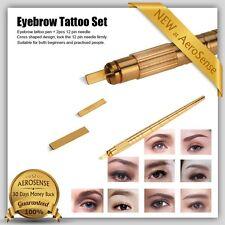 Eyebrow Permanent Tattoo Pen Kit Manual Makeup Microblading Needles Set Lip Tool