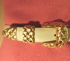 NEW Leather Belt w Basketweave BRASS Budkle Women's S Off-White MADE IN USA Pntd
