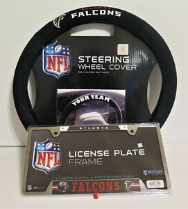 ATLANTA FALCONS SUEDE AND MESH STEERING WHEEL COVER AND LICENSE PLATE FRAME