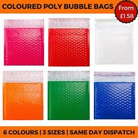 Coloured Poly Bubble Bags - Padded Envelope Postal Gloss Plastic Mailing Pouches