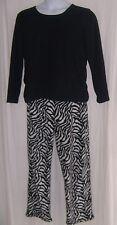 Goodnight Kiss Size XL Black w/Zebra Print Fleece Pajamas