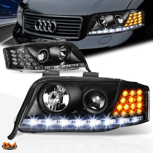 For 02-04 Audi A6 Projector Headlight W/LED DRL Black Housing Amber Turn Signal