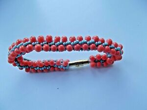 """Bracelet KUMIHIMO   ~ 18cm (7,1""""). Color coral and turquoise. Handmade."""