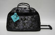 NEW KATHY VAN ZEELAND PURPLE BANDANA WHEELED DUFFLE LUGGAGE CITY BAG $120 PATENT