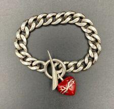 Bracelet with Heart Charm Vintage Unique Chrome Hearts Silver