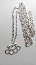 """A knuckle duster Tibetan Silver Charm, Long ( 30"""" ) Chain Necklace"""