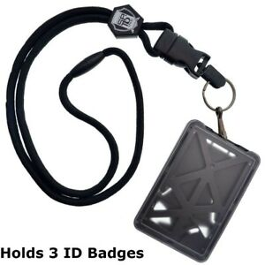 Specialist ID THREE Card Heavy Duty Plastic Badge Holder with Lanyard - Top Load