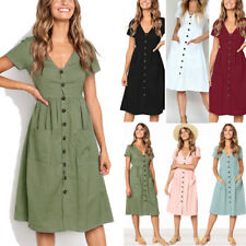 UK Women's Summer Short Sleeve V Neck Button Deco Swing Midi Dress with Pockets