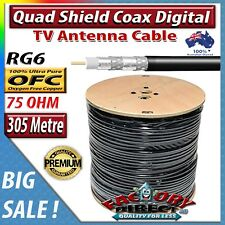 305m Heavy Duty RG6 Quad Shielded 75ohm OFC Coax Digital TV Antenna Foxtel Cable