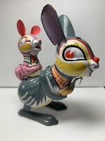 Vintage Tin Litho Bunny Rabbit Toy Needs Repair