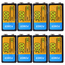 8pcs 9V 9 Volt 300mAH NiMH Recharge Rechargeable Battery POWER NEW