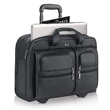 "Solo D957-4 Classic 15.6"" Laptop / MacBook Pro Black Leather Rolling Case - New"
