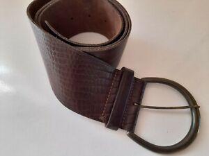 "Vintage Next Brown Leather Boho Hippie Wide Buckle Belt Size 39.5"" Long"