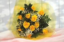 FRESH REAL FLOWERS Delivered 12 Yellow ROSES FREE UK Next Day Delivery by post