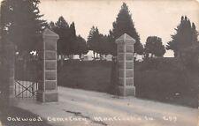 Monticello Iowa~Stone Pillar Entrance to Oakwood Cemetery~RPPC c1910