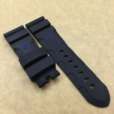 24mm*22mm 115mm/75mm Replace Black Rubber Band Strap For PAM PAM111 Watch