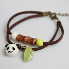 Retro Pendant Jewelry Rope Panda Bamboo Porcelain Ceramic Hand Chain Bracelet