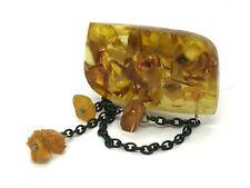 Old Vintage Amber BROOCH Antique Pressed Natural Baltic Amber Beads 13,8g 9975