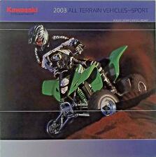 KAWASAKI All Terrain Vehicles Sport Model Year 2003 Sales Brochure Catalog