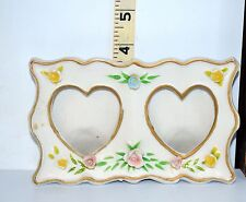 Pretty Two Hearts Cut Out Ceramic Freestanding Dual Photo Frame w/Floral Accents