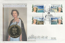 (50013) Turks & Caicos 5 Crowns COIN FDC Queen 40 Years Accession 1992