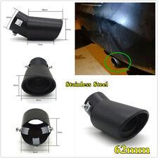 62mm Bend Car Exhaust Tail Throat Muffler Tip Pipe Matte Black Stainless Steel