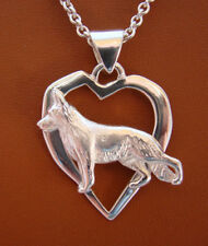 Large Sterling Silver German Shepherd Dog Standing Study On A Free Form Heart