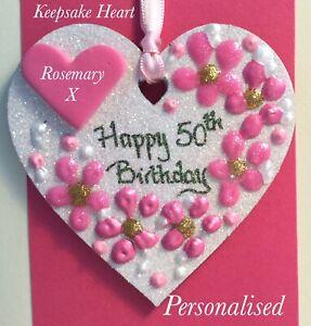 50th Birthday Keepsake Heart On A Greetings Card Personalised