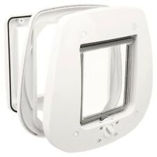TRIXIE 4 Way Cat Flap for Glass Doors 27x27cm White Magnetic Pet Safety Lock