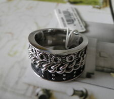 NEW DIESEL STAINLESS STEEL LEATHER CHAIN BAND RING / SIZE 8.5 / 9 /