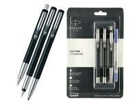 Parker VECTOR STANDARD TRIPLE CT Fountain, Roller, Ball Pen (Black Body) - 3 pen