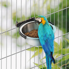 Stainless Steel Food Water Cup Drinking Bowl for Bird Cage Coop Hanger Cup