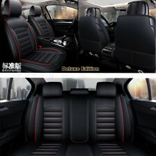 Full Surround Black PU Leather 5-seats Cover Car Seat Pad Cushion Protector 1Set