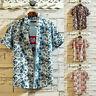 Men Hawaiian T Shirt Summer Floral Print Beach Short Sleeve Tops Blouse CL