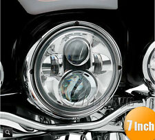 "7"" LED Chrome Projector Daymaker Headlight For Harley Street Glide FLHX Touring"