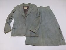 Leathers By New England Womens Size 12 Green Leather Blazer & Skirt Outfit