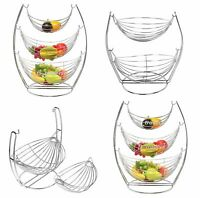 NEW CHROME WIRE SWING BASKET FRUIT VEGETABLE BASKET TABLE TOP WITH STAND