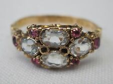 Victorian Antique 15ct Gold Aquamarine & Ruby Ring 1866 Size Q