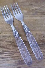 Gibson Stainless 2 Salad Fork Clear Acrylic Plastic Controlled Bubble Handle
