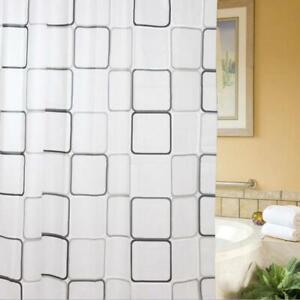 New Modern Waterproof Bathroom Shower Curtain Liner Mildew With Hooks Ring UK