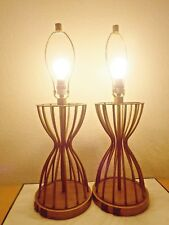 "LAMPS PAIR HOTEL 30""H STYLE FANCY HEAVY METAL POWER LAMPS w/ 2 PLUG OUTLET BASES"