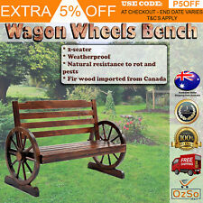 NEW Solid Wooden Wagon Wheel Bench Outdoor Patio Garden Seat Rustic Decor -Brown