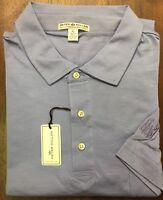 Peter Millar Blue HBA BHA Logo Pima Cotton Tailored Fit Polo Golf Shirt Size XL