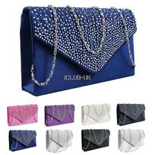 Women Evening Bag Satin Bridal Diamante Ladies Clutch Envelope Handbag Wedding